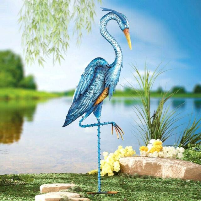LARGE BLUE HERON Garden Stake STEEL ART YES its BLUE