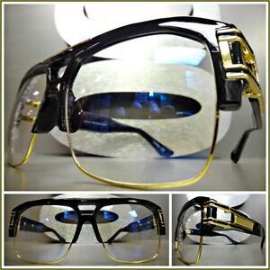 fa55c2a28a4 Men s VINTAGE HIP HOP RAPPER Style Clear Lens EYE GLASSES Large ...