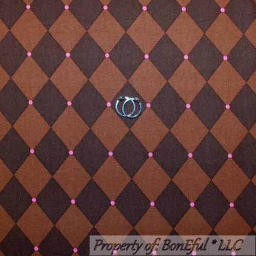 BonEful Fabric FQ Cotton Quilt Brown Pink Rose Diamond Paris Stripe Large Calico