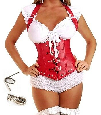 LEDER DOMINA CORSAGE LEDERIMITAT S -XL  (34-40) FETISCH LEATHER CORSET BDSM