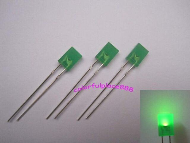 100pcs 2x5x7mm Green Diffused LED Rectangle Rectangular Leds Light Free Shipping