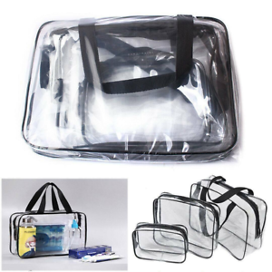 Details about Large Small Clear Makeup Bag PVC Travel Cosmetic Toiletry Organizer Zipped Pouch