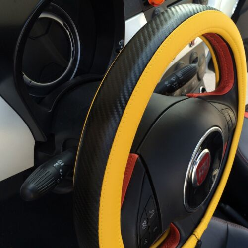 Yellow /& Carbon Fiber Style Easy Slip-On Steering Wheel Cover Perfect Fit Sport