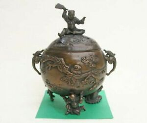 Incense burner Japanese Bronze Koro Takaoka Craft Karako Child Motif Japan
