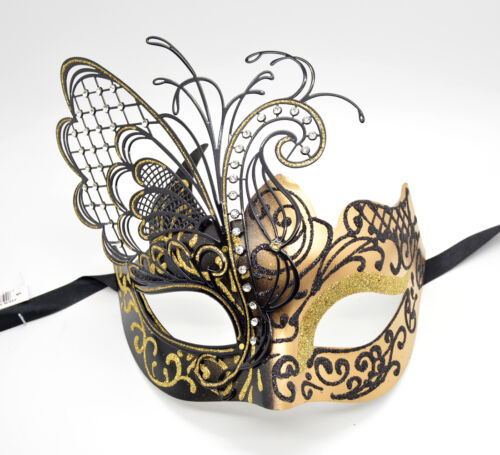 Couple Men Women Black Laser Cut Filigree Spike Venetian Masquerade Mask