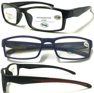 R152-Men-039-s-Sports-Style-Reading-Glasses-Plastic-Frame-Comfort-Design-0-50-4-00