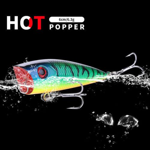 Fischköder Popper 6,3g 6cm Kustlicher Köder 2 Stück