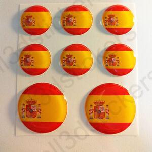 Pegatinas-Espana-Pegatina-Bandera-Espanola-Redondas-Adhesivo-3d-Relieve-Resina