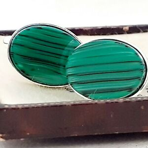 Vintage-1970s-Green-amp-Black-Stripe-Glass-Cabochon-Oval-Silver-Plated-Cufflinks