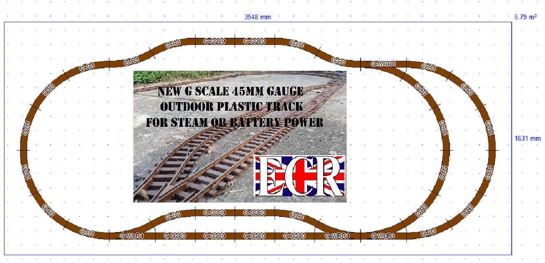 Garden G Escala 45mm Calibre Rail Plástico Railway Pista Disposición Batería