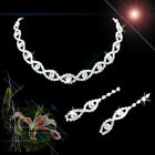 Fashion Crystal Rhinestone Jewelry Earrings and Necklace Set for Wedding Party