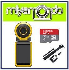 Casio Exilim FR100 Action Camera +Sandisk Ultra MicroSD 32GB + Monopod (Yellow)