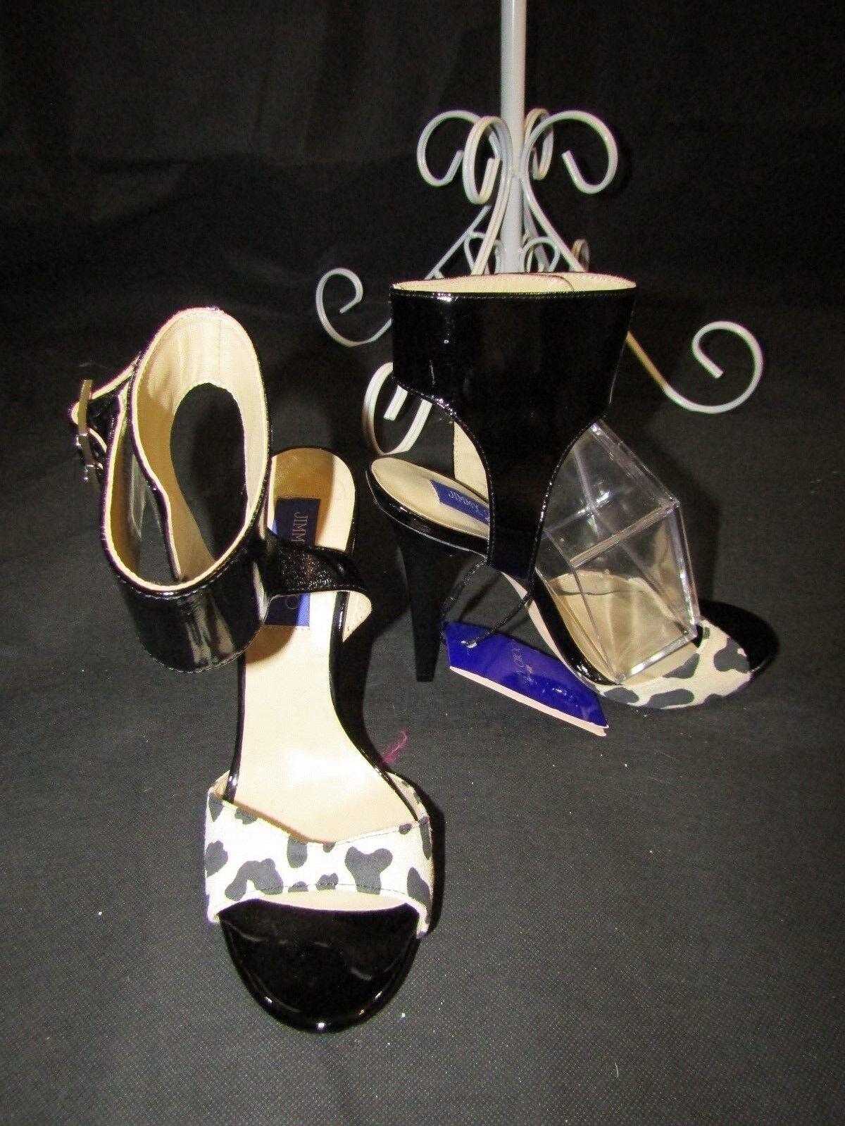 JIMMY CHOO FOR H&M Blk Patent Patent Blk & Suede Ankle Wrap Stiletto Sandal Heels Size 39 dc72d7
