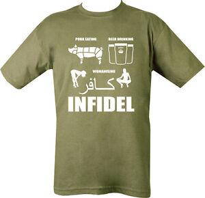 INFIDEL-T-SHIRT-BEER-DRINKING-PORK-WOMEN-SEX-BRITISH-ARMY-ENGLISH-MUSLIM-DEFENCE