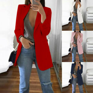 Womens Autumn Winter Long Sleeve Office Coat Cardigans Suit Long Jacket NA