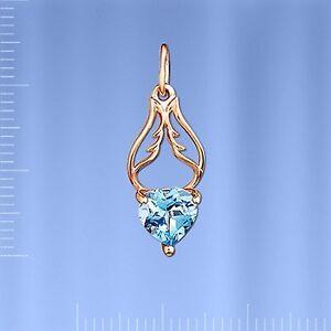 Russische-Rose-Gold-585-Anhaenger-mit-Herz-Topaz-Neu-Glaenzend