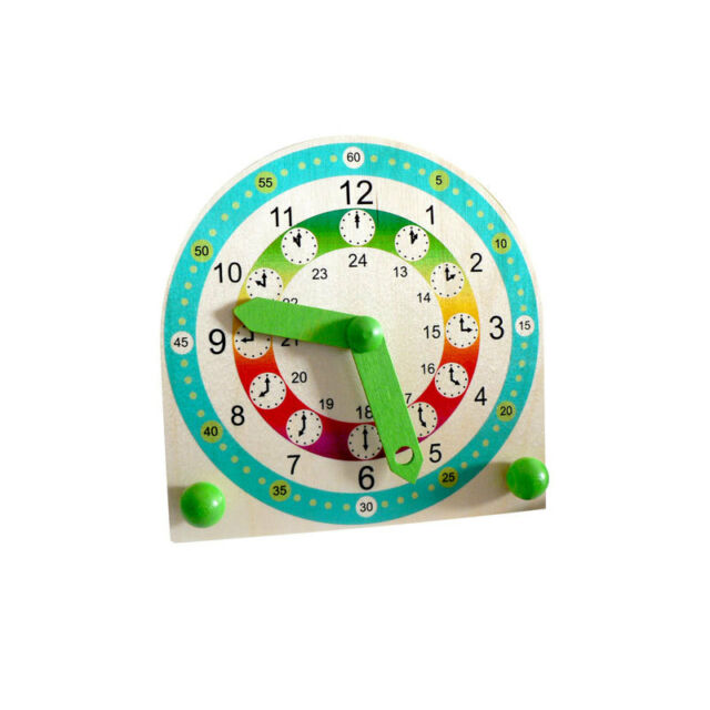 Hess 14659 Stand Children Learning Clock 18 cm Wood from Erzgebirge NEW! #