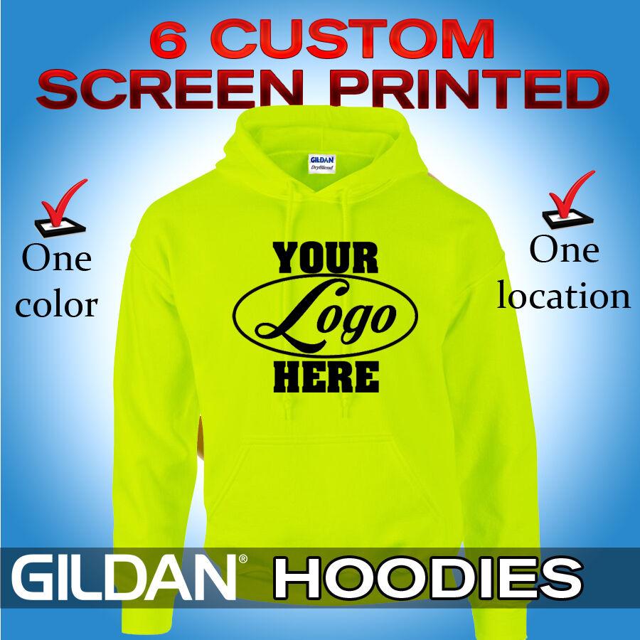 6 Custom Screen Printed Hooded Sweatshirts - Hoodies