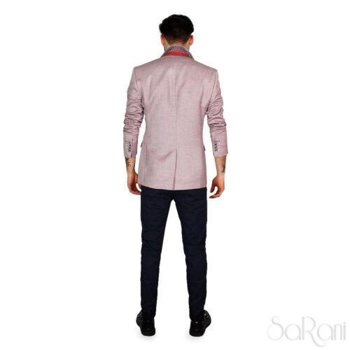 Casual Giacca Taschino Fit Elegante Uomo Rosso Slim Sarani Microfantasia Bottoni xqRR4SwE