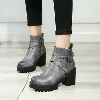 Women Retro Roman Chunky Heels Side Zip Ankle Boots US 4.5-11 Leather Booties