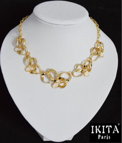 Lujo statement collar Ikita parís cadena Korall-perlas oro//blanco
