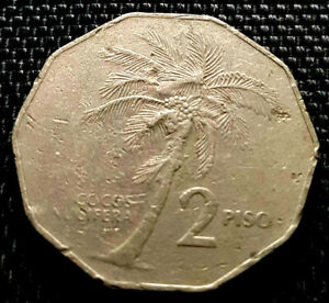 1985-Philippines-Two-Piso-coin-dia-30mm-VF-FREE-1-coin-D8165