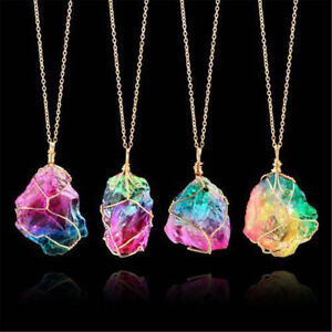 Rainbow-Stone-Natural-Crystal-Chakra-Rock-Chain-Quartz-Pendant-Necklace-Jewelry