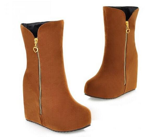 Stiefeletten stiefel frau keilabsätze intern heiß 10 cm heiß intern komfortabel simil leder 1cd5e5