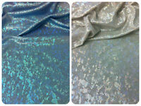 Holographic Shattered Glass Foil On Stretch Nylon Spandex Fabric