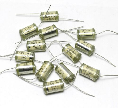 20 pcs 2200pF 500V 10/% Vintage Styroflex Audio Capacitors Copper Leads USSR NOS