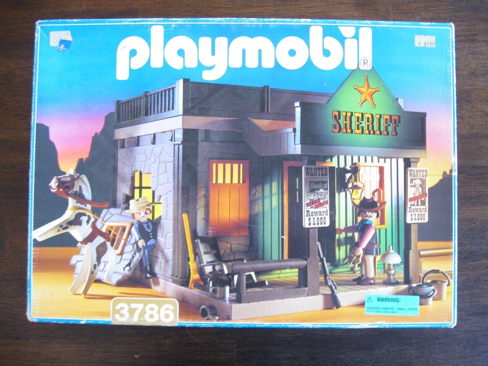 PLAYMOBIL VINTAGE 3786 SHERIFF 1994  EXCELLENT CONDITION-INSTRUCTIONS - NICE BOX  acheter des rabais