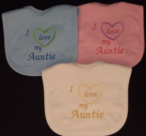 I Love My Auntie Baby Bib Pink Blue White Boy Girl Babies Clothes Funny Gift