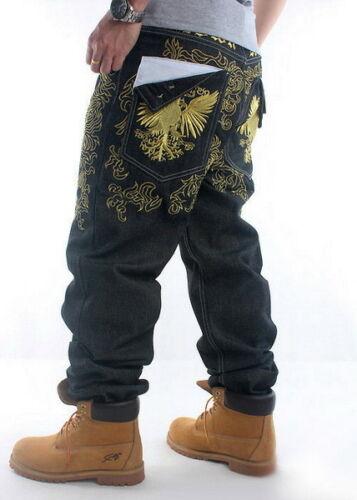 Mens Jeans Denim Casual Pants Trousers Hawks Embroidery Hip-Hop Black W30-W46