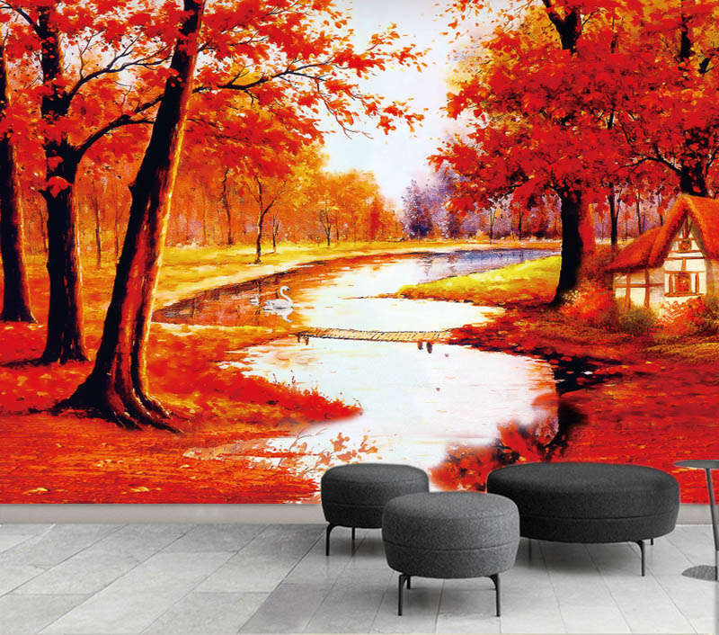 ROT Maple River 3D Full Wall Mural Photo Wallpaper Printing Home Kids Decoration