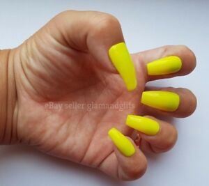 Image Is Loading 24 Hand Painted False Nails Neon Yellow Full