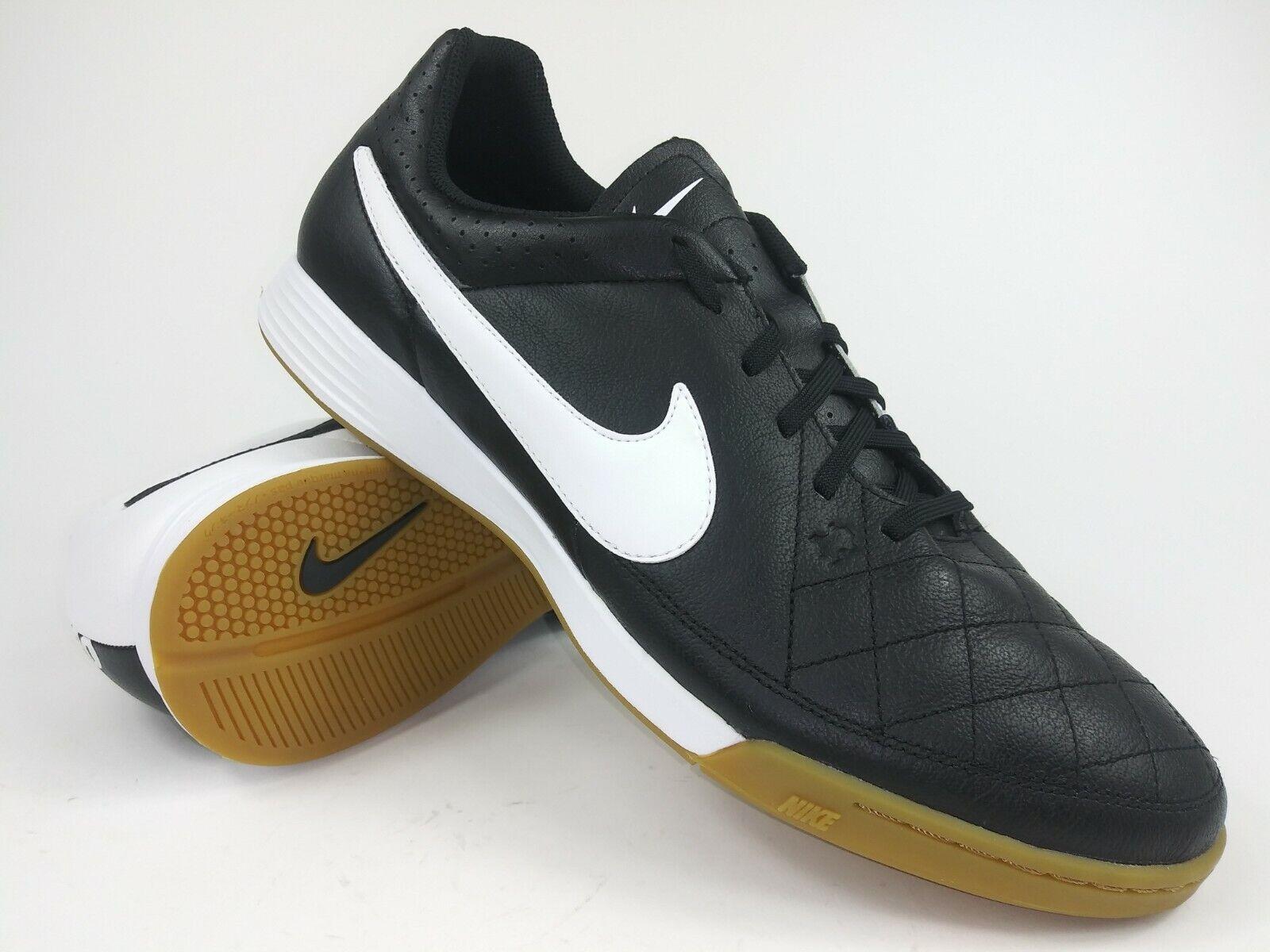 Nike Tiempo Genio Cuero IC 631283 010 blancoo Negro botas Zapatos de Fútbol Indoor