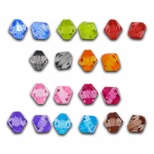 200 Rhombs 8mm Colorful Mix Pearl Faceted Diamond Check Bicone Plastic Beads