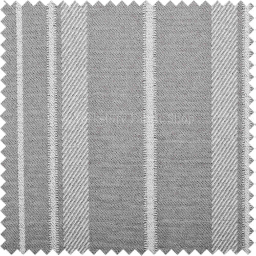Soft Like Cotton Cushion Curtain Uphosltery Woven Fabric Broad Stripe Grey White