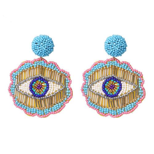 Moda Multi-Color Semilla Cuentas Colgantes Pendientes para Mujeres Fiesta Boda Joyería
