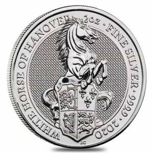 2020-Great-Britain-2-oz-Silver-Queen-039-s-Beasts-White-Horse-of-Hanover-Coin-9999