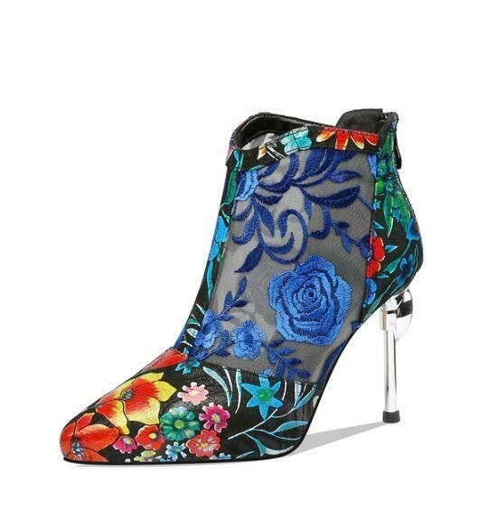 Wouomo Floral High Heels scarpe Stiletto Flower Mesh stivali Sandals Ethnic lc01