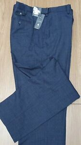 """MARKS & SPENCER Mens Reg Fit Navy Blue Wool Rich Trousers 44"""" Wst 33"""" I/L"""