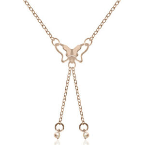 Fashion-Women-Butterfly-Steel-Rose-Gold-Plated-Choker-Pendant-Necklace-Clavicle