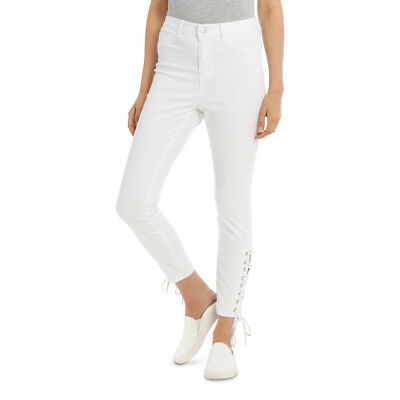 NEW Miss Shop Lace up Detail Jean White