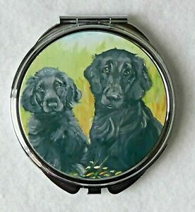 FLAT-COATED-RETRIEVER-PUPPY-DOG-HANDBAG-COMPACT-MIRROR-PRINT-SANDRA-COEN-ARTIST