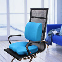 Coccyx Orthopedic Memory Foam Seat Pad Lumbar Lower Back Support Cushion Bundle