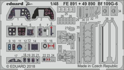 Eduard Accessories FE891-1:48 PE Set Bf 109G-6 for Tamiya Neu