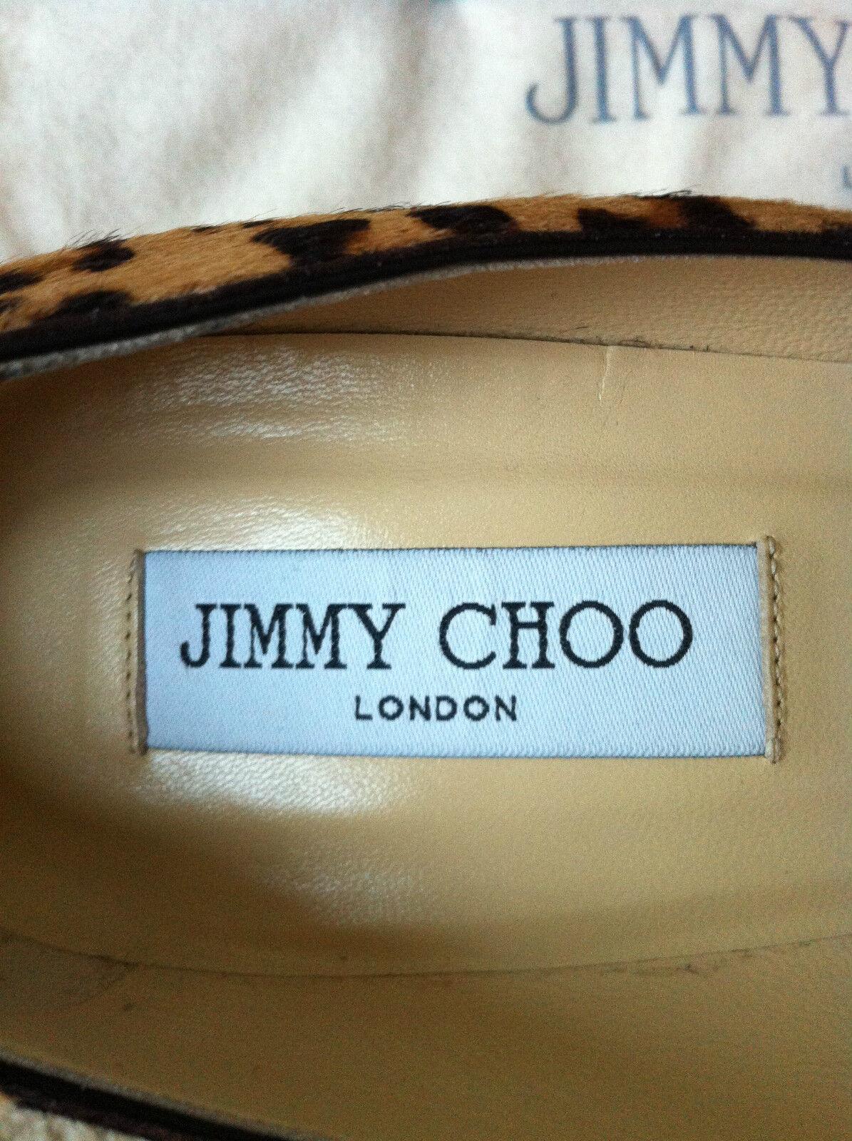 Jimmy Choo Cosmic Estampado de Leopardo Pony Cabello Punta Redonda 10 Bomba de plataforma Talla 10 Redonda 417712