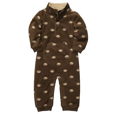 Carters 6 9 12 18 24 Months Football Jumpsuit Coverall Baby Boy Clothes Brown