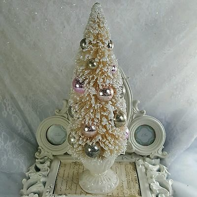 SHABBY Decorated BOTTLE BRUSH TREE w/ Victorian URN Pink Gold Champagne Ivory